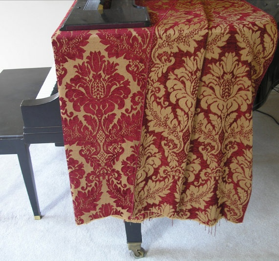 Italian Chenille Tapestry Fabric Heavy Weight Red U0026 Gold Luxurious One Yard
