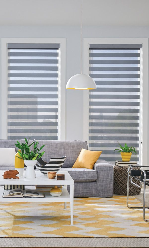Style your living room with Layered Shades from @baliblinds pictured with Continuous-Loop Lift: color Quicksilver 4560 from the Aloft Sparkle collection. #LayeredShades #LivingRoom