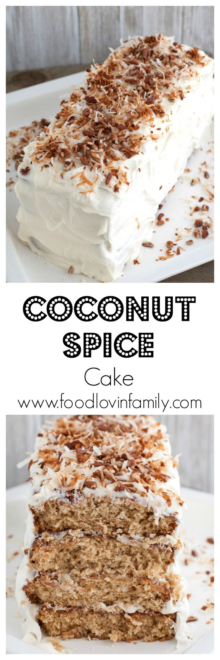 Layered coconut spice cake with cream cheese frosting is a cake sure to impress your guests. Filled with warm spices, coconut and chopped pecans, this cake has texture and amazing flavors. | http://www.foodlovinfamily.com/layered-coconut-spice-cake/