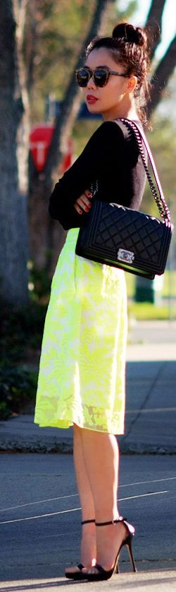 "Neon Skirt And Chanel ""boy"" Bag by Hallie Daily #streetstyle"