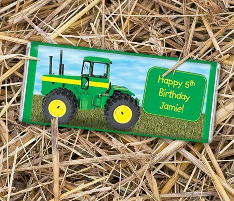 John Deere Themed Party Favors, Boys Birthday Favors, Farm Themed Birthday Party Favors - wrappedhersheys.com #johndeere #birthday #tractor #personalizedbars