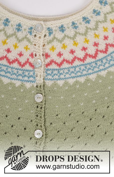 Knitted top with wave pattern, round yoke and multi coloured pattern in DROPS Flora. Sizes S - XXXL.