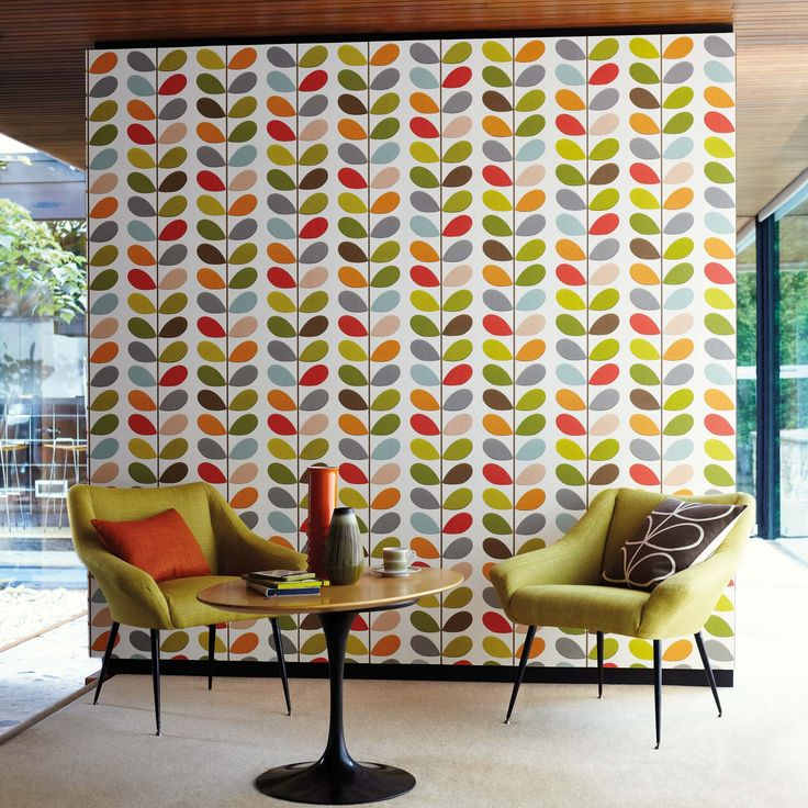 It will be mine...Oh yes, it will be mine.     Orla Kiely wallpaper for my mid century modern dining room!