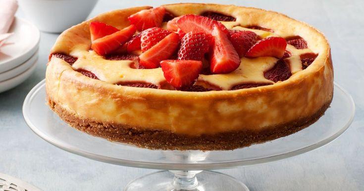 This delicious sugar-free cheesecake tastes terrific with a fresh strawberry swirl.