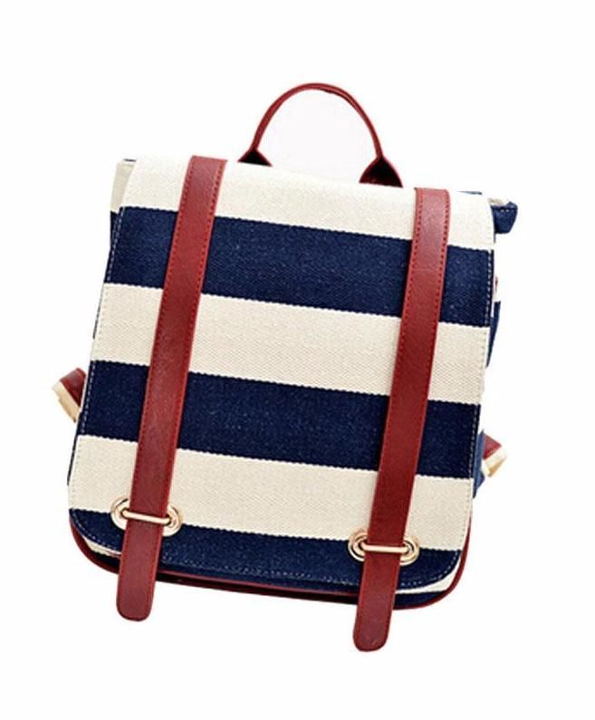 Navy Stripe Backpack with Vegan Leather Straps – The Bullish Store - #getbullish #backtoschool #nautical #redwhiteandblue #cute #kids #adults