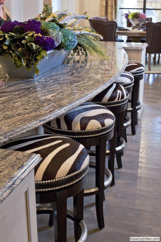 Zebra print bar stools