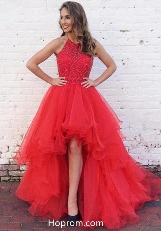 5ecd7171dea2 Red Beading Prom Dress, High Low Halter Prom Dresses in 2019 ...