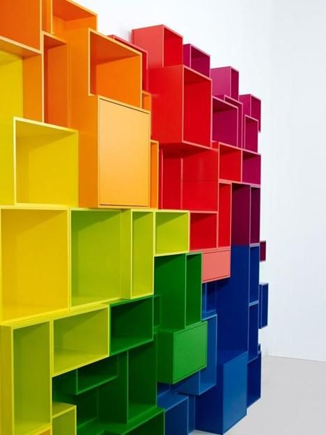modular furniture for storage, shelving units in various colors