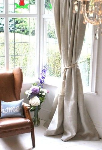 Woven Textured Heavy Cream Stone Linen Curtains