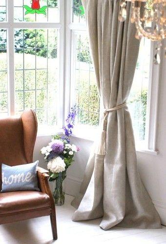 Woven Textured Heavy Cream Stone Linen Curtains