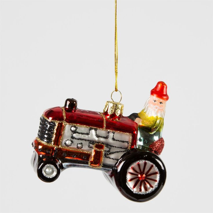 Glittery Santa In Tractor Hanging Decoration