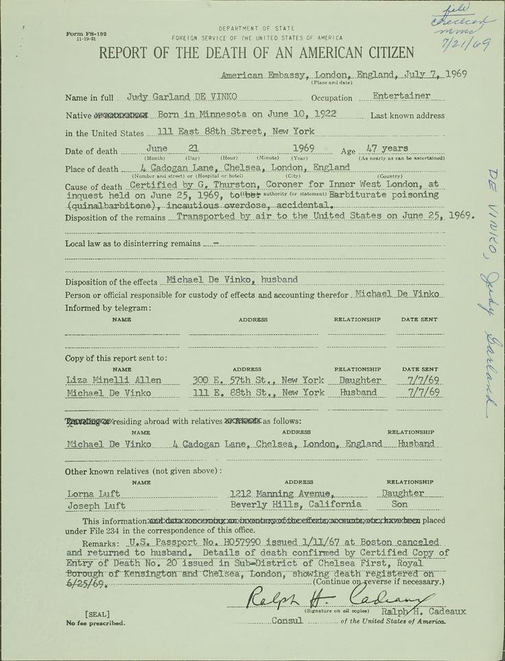 Report of the death of an American Citizen - Judy Garland - overseas death certificate
