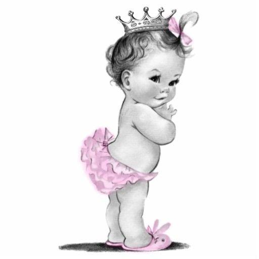 Vintage Pink Princess Baby Girl Shower Statuette