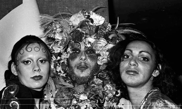 Two Cockettes and Holly Woodlawn at Max's in 1971. Photo by Anton Perich