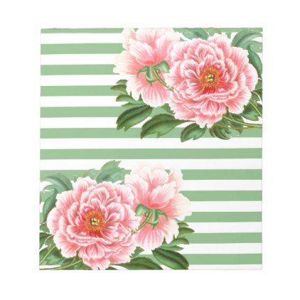 Pink Peonies Green Stripes Notepad - romantic gifts ideas love beautiful