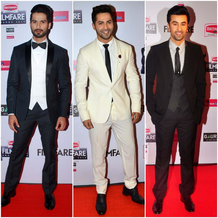 Some serious styling at the red carpet of the Filmfare Awards 2015;  Shahid Kapoor in Kunal Rawal, Varun Dhawan in Emporio Armani & Ranbir Kapoor in Dior.