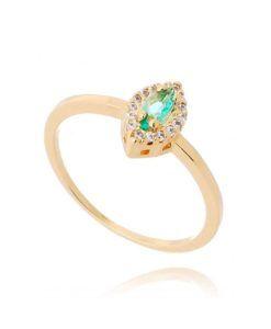 anel turmalina lapidacao marquesa dourado semijoias