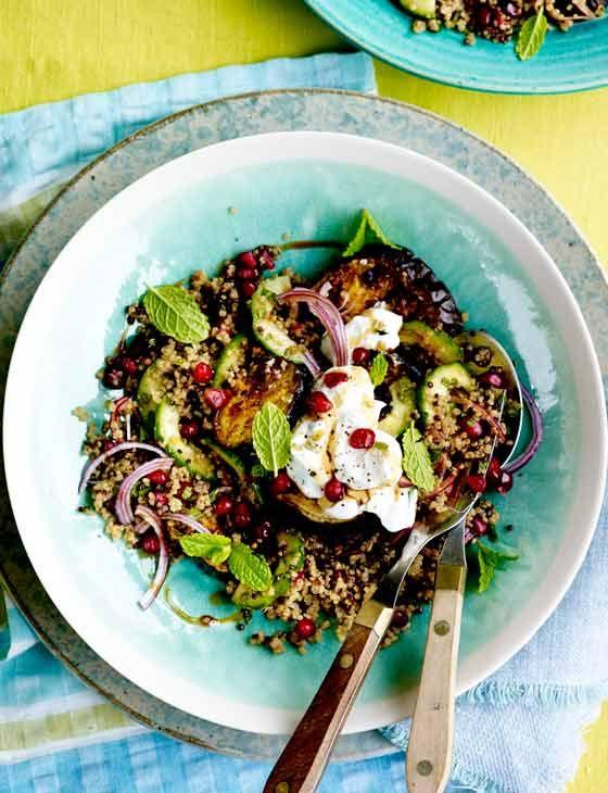 Spiced aubergine quinoa salad - with raw el hangout spice and Greek yogurt