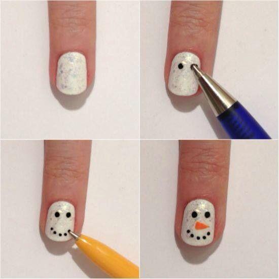 Snowman Nail Art Tutorial: 8 Best Christmas Nails Design Tutorial Images On Pinterest