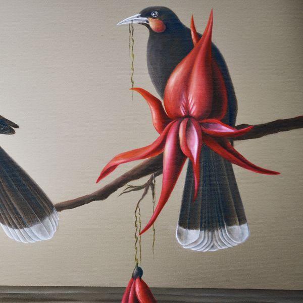 Toia Mai Te Waka (detail) by Sofia Minson, oil on canvas