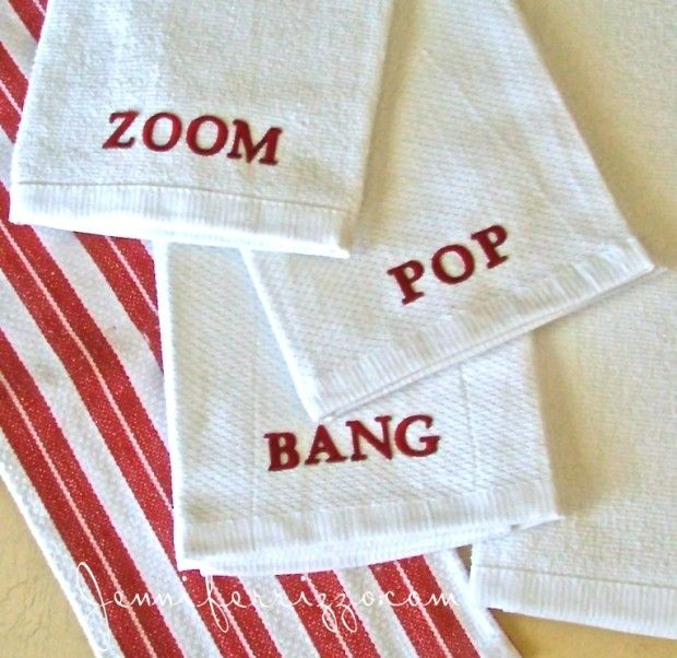 word towels made with iron on letters these would be cute with holiday words