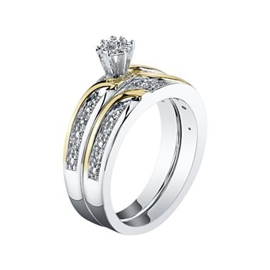 Lovely Two Tone Diamond Accent Bridal Set jcpenney
