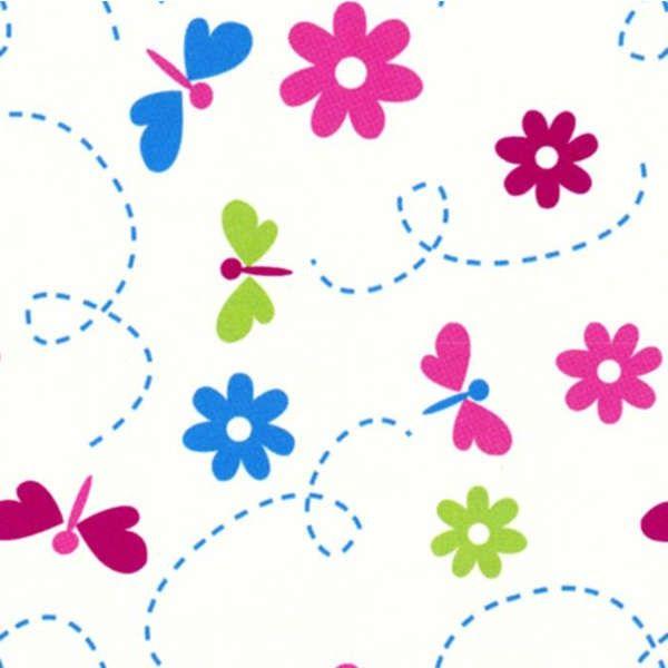 Camelot Cottons - Cream Dragonflies Flannel - cotton fabric
