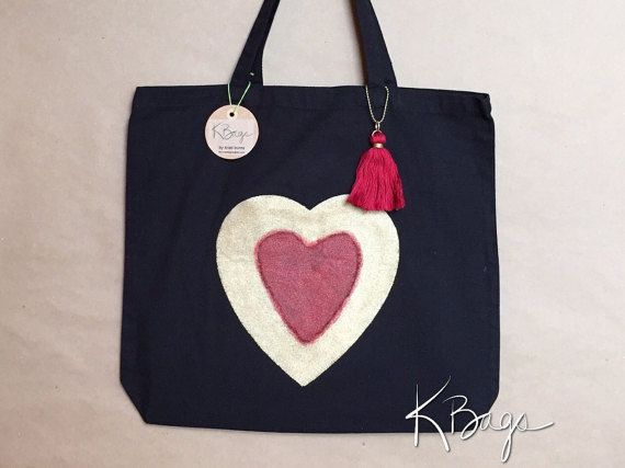 Hand-Painted Canvas Tote Bag  Gold & Red Heart by KristiBags