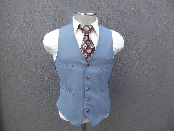 1970s Vintage Blue Vest / 70s Vintage Waistcoat 38 Medium Med M / Vintage Mens Vest / Baby Blue Waistcoat / Men's Suit Vest / Vintage Vest