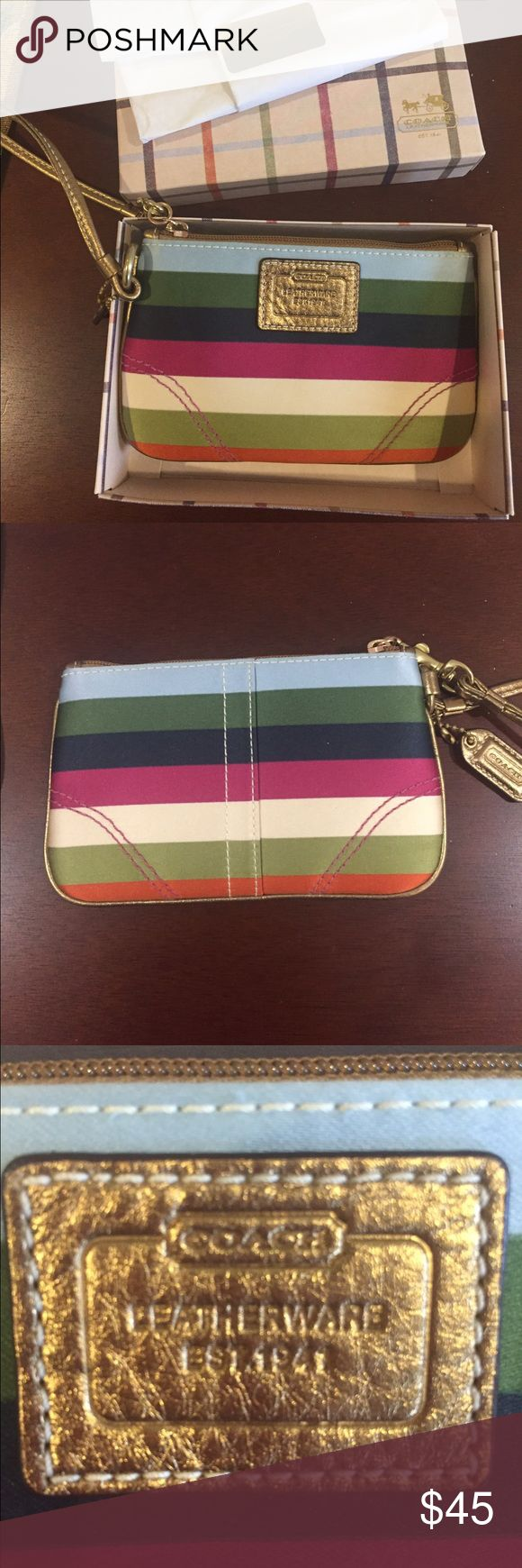 *NWT* COACH legacy striped wristlet New with tags! These colors are perfect for any season! Easy to grab before a night out or while running errands, or matching back to almost everything. Coach'S legacy collection. Coach Bags Clutches & Wristlets