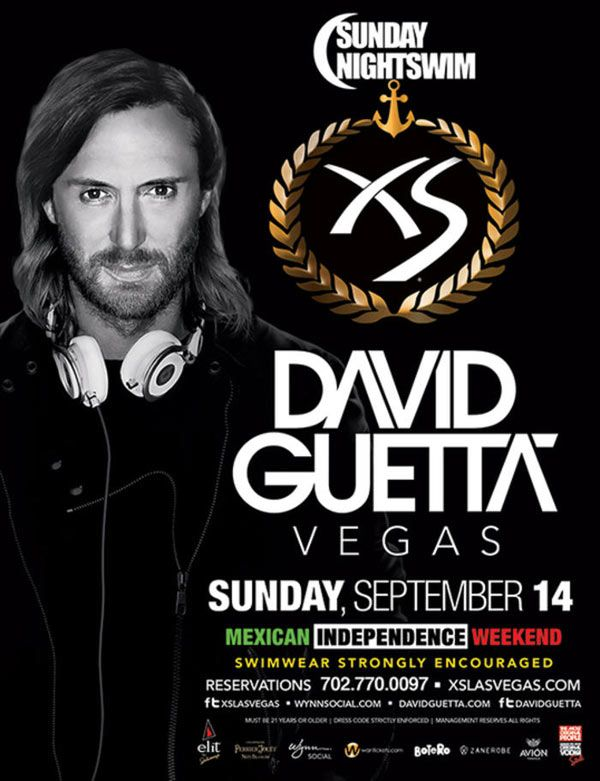 Come out for a swim for Sunday Nightswim with David Guetta at XS Nightclub inside Encore at Wynn Las Vegas on Sunday, September 14th.