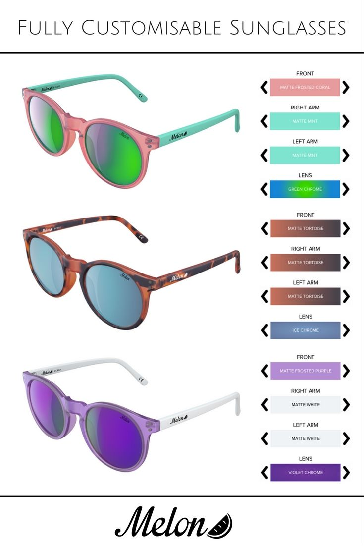 With 1000s of possible combinations, you get to choose your unique style that matches your lifestyle and personality.   Design yours @ https://www.melonoptics.co.uk/design-your-own-sunglasses/