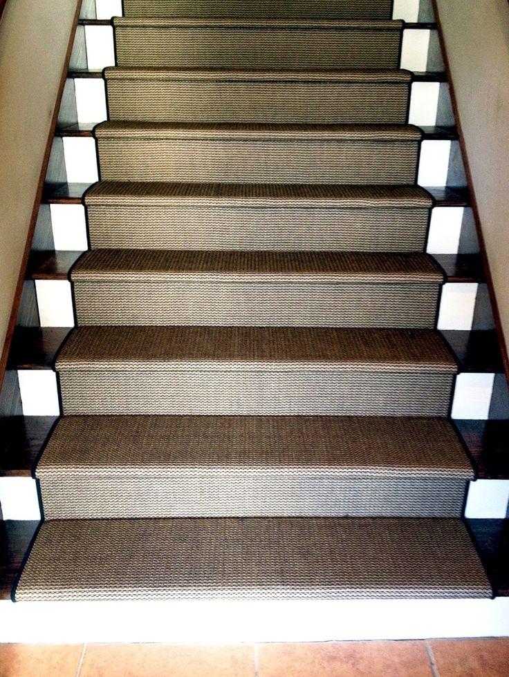 Choosing Stair Runner : Elegant Straight Stair Design With Dark Treads Combine With Brown Carpet Stair Runner And White Riser Also Brown Floor Tiles