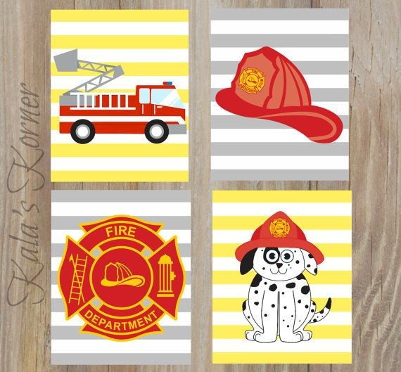 FIREFIGHTER NURSERY ART - Firefighter Decor - Firefighter Playroom - Firefighter Wall Art - Playroom Art - Children Wall Art - Fireman