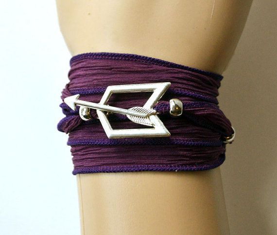 what Samara wears in honour of Silke from District 8   Hawkeye Purple Silk Wrap Bracelet with Toggle Closure, Fully Adjustable