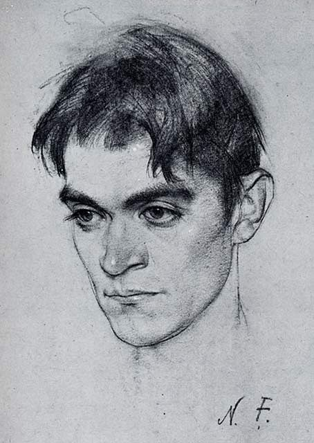 Nicolai Fechin, charcoal portrait drawing.  He became well-known for his powerful portraits, which observers said seemed to radiate from the eyes of the subject. Some of his more renowned subjects are Nikolai Lenin, Karl Marx, Frieda Lawrence and Lillian Gish.