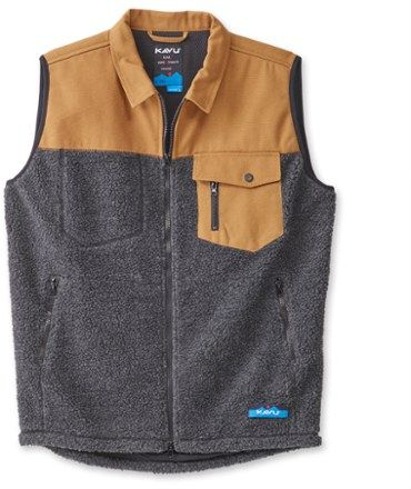 KAVU Men's Open Range Fleece Vest Black Smoke XXL