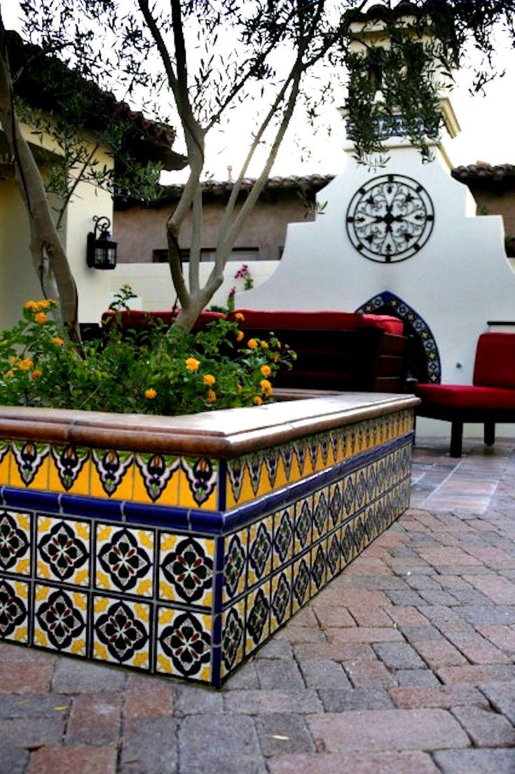 Talavera ceramic birdbaths eclectic bird baths phoenix by - Use Of Multiple Patterns And Solid Trim Tile Latin Patios Mediterranean Patio Los Angeles By Latin Accents Inc