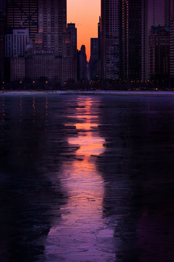 Oak Street Beach and cityscape (Chicago Pin of the Day, 1/9/2015).
