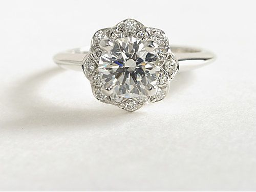 Floral Halo Diamond Engagement Ring in 14k White Gold | #Wedding #Engagement #Jewelry