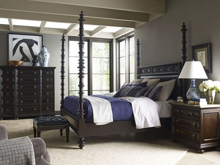 An Ernest Hemingway Bedroom Set Featuring The Lookout Farm Hi Low Poster Bed The Dark Espresso