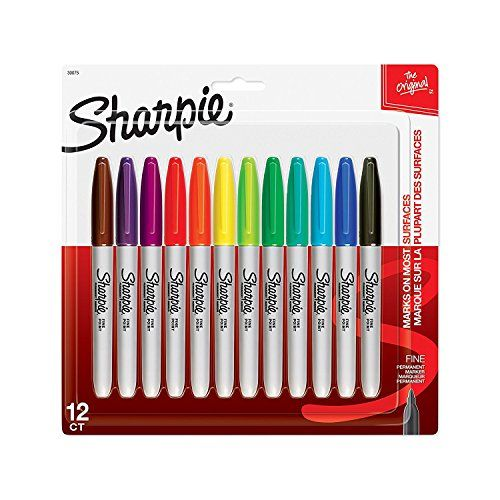 Sharpie Permanent Markers, Fine Point vWyJNBb, Assorted Colors, 12-Pack