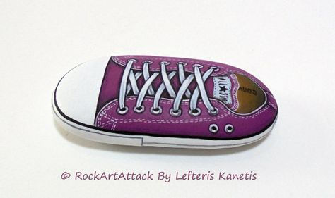 Light Purple Color All Star Converse Painted Stone ! Is Painted with high quality Acrylic paints and finished with Glossy varnish protection