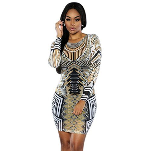 TONSEE Tonsee Sexy Women Long sleeve Printed Bodycon Dress XL Multicolor 2 -- Details can be found by clicking on the image.