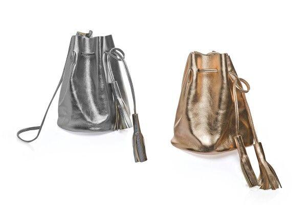 Leather metallic  bucket bags