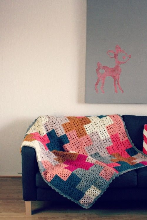 simple crochet blanket with style  cross