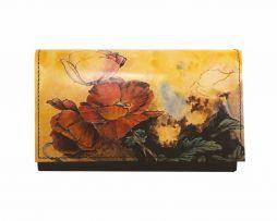 Ručne maľovaná kožená peňaženka 8542 s motívom Makov