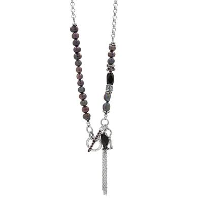N1540 - Jet semi-precious beads and berry freshwater pearl necklace with tassel, key and Amethyst Swarovski crystal accents