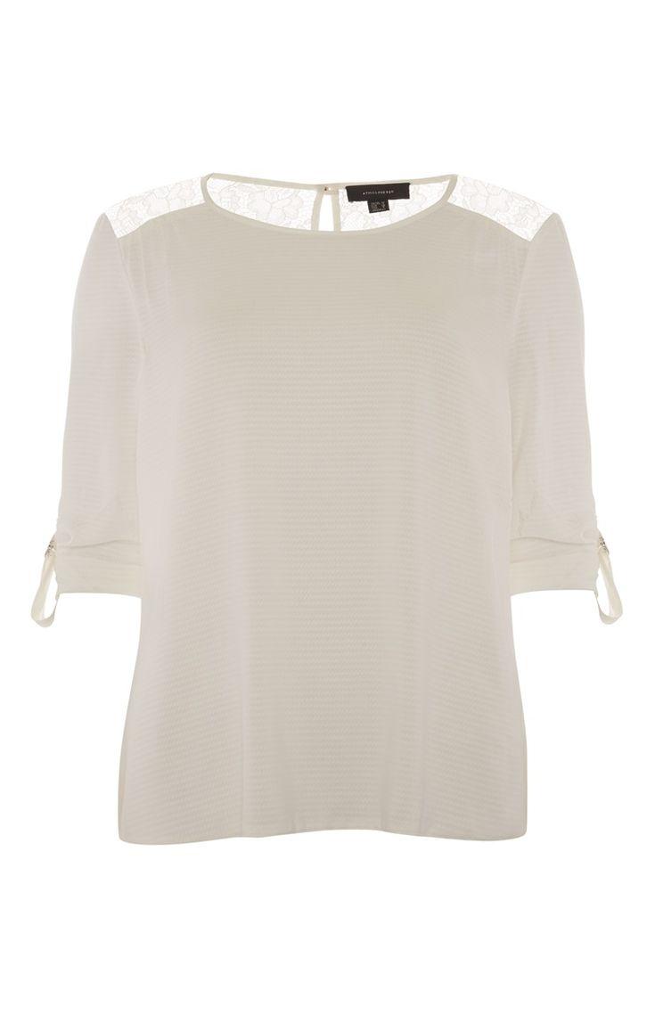 Primark - Ivory Lace Shoulder Back Blouse
