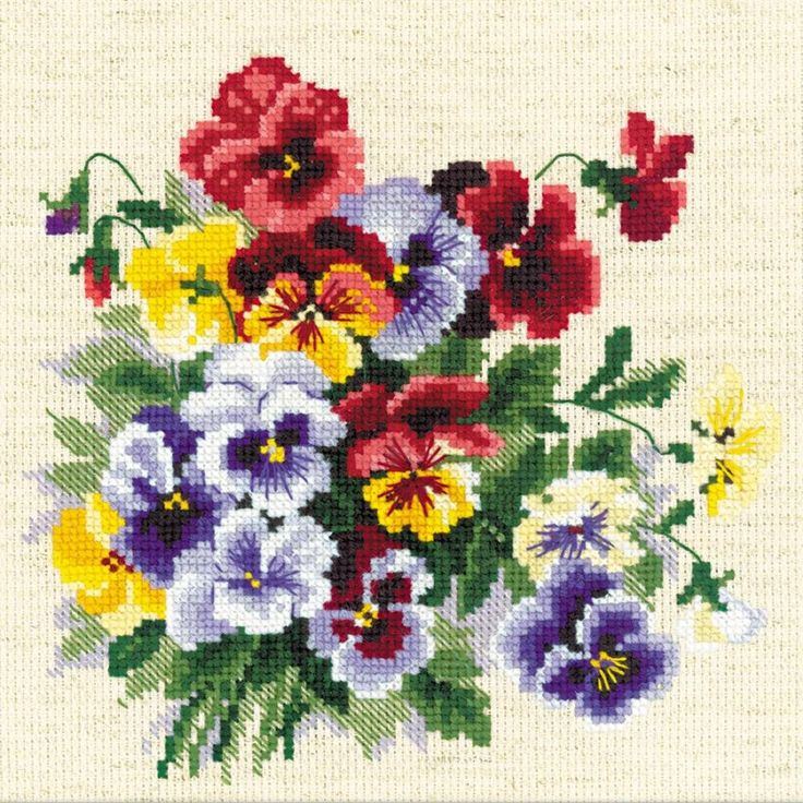 "Pansy Medley Counted Cross Stitch Kit-8""X8"" 14 Count"